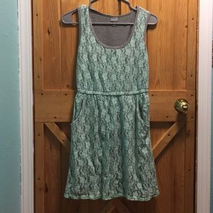 Mint knit dress with floral Lace overlay